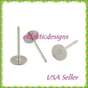 10pc-5mm-304-Stainless-Steel-Flat-Back-Round-Earring-Post-Studs-Jewelry-Findings
