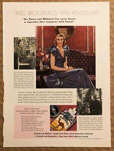 RARE-Vintage-1935-color-CAMEL-CIGARETTES-Color-AD-Mrs-Brookfield-Van-Rensselaer