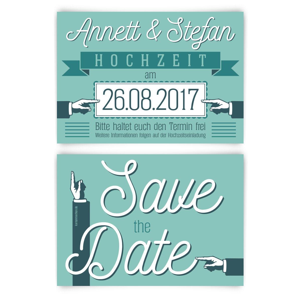 Save the Date Karten - 50er Jahre Werbung in Mintgrün - Hochzeitskarten | Spezielle Funktion  | Qualität Produkt