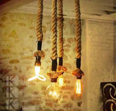 Vintage Hamp Rope DIY Ceiling Lamp Light Glass Pendant Lighting Edison Bulb Cafe