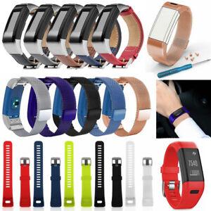 Fashion Silicone//Stainless Steel Band Strap WristBand For Garmin Vivosmart HR