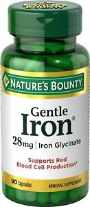 Nature's Bounty Gentle Iron 28 mg Iron Glycinate, 90 Capsules (Pack of 3)