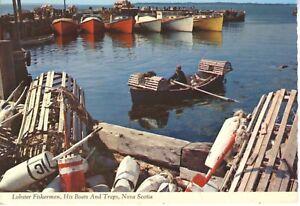 Lobster-Fisherman-Boats-amp-Traps-NS-Nova-Scotia-Vintage-c1973-Postcard-D9