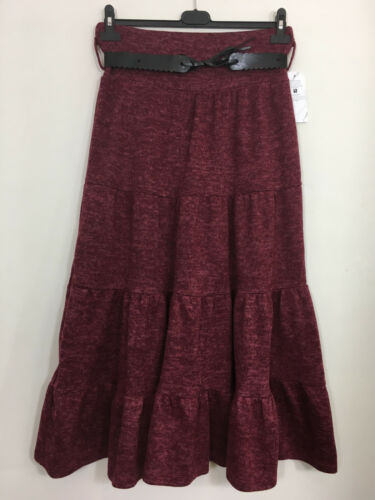 Ladies Winter Skirt Italian Quirky Maxi Belted Long Flared Tiered Dress Pleated