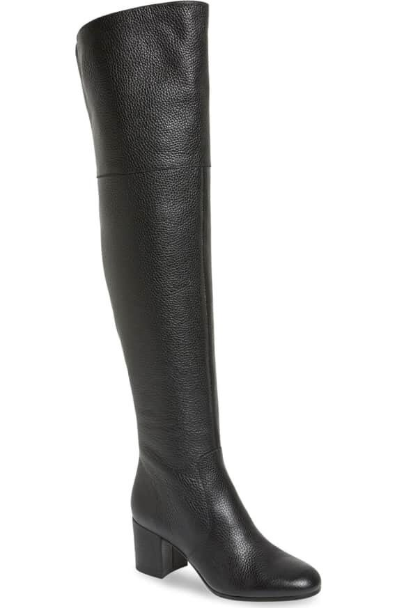 NEE Via Spiga 'Finlay' Over The Knee Boots - - - Black Pebbled Leather - 7M cb2297