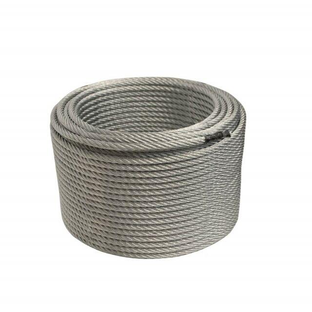"""Aircraft Steel Cable Wire Rope 250/' 3//8/"""" 7x19 Galvanized Cable with Cable Clamps"""