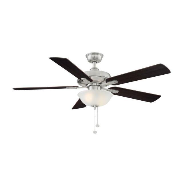 Hampton Bay Larson 52 in. LED Brushed Nickel Ceiling Fan With Light Kit AL420-BN