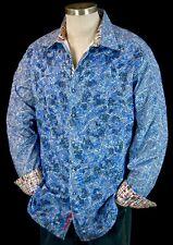 Robert Graham Blue Jacquard Check Embroidered Sport Shirt 2xl