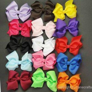 15pc-3-5-034-Boutique-Hair-Bows-Girls-Baby-Alligator-Clip-Grosgrain-Ribbon-Headband