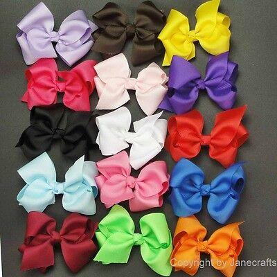 "15pc 3.5"" Boutique Hair Bows Girls Baby Alligator Clip Grosgrain Ribbon Headband"