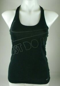 Nike-Tee-Athletic-Cut-Black-Graphic-Racerback-Tank-Top-Women-039-s-Sz-Extra-Small-J1