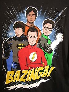Image is loading T-Shirt-BIG-BANG-THEORY-XL-Black-DC-  sc 1 st  eBay & T-Shirt BIG BANG THEORY XL Black DC Superheroes BAZINGA Flash ...