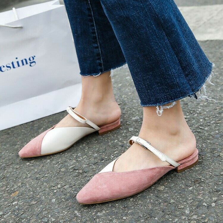 Women Ladies Fashion Leather Two Tone V-Cut Buckle Strap Court shoes Mules GKGQ