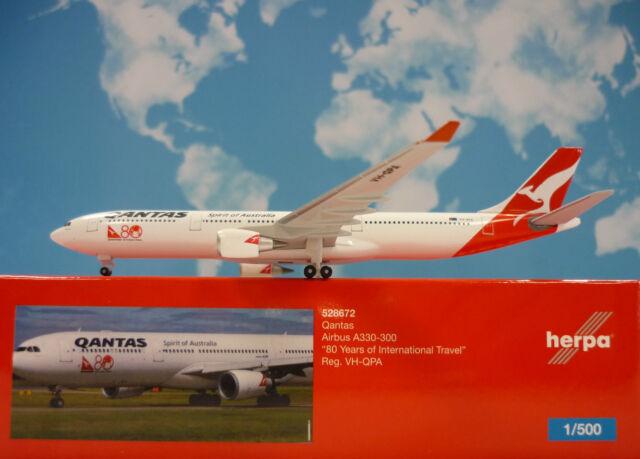 Herpa Wings 1:500 Airbus A330-300 Qantas 80 Years VH-QPA 528672 Modellairport500