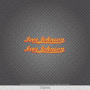 Gold//Red 07344 Iver Johnson Bicycle Stickers Decals Transfers