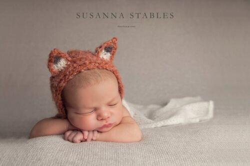 Newborn Baby shower Gift Photography Photo prop Mohair Fluffy Fox Bonnet hat
