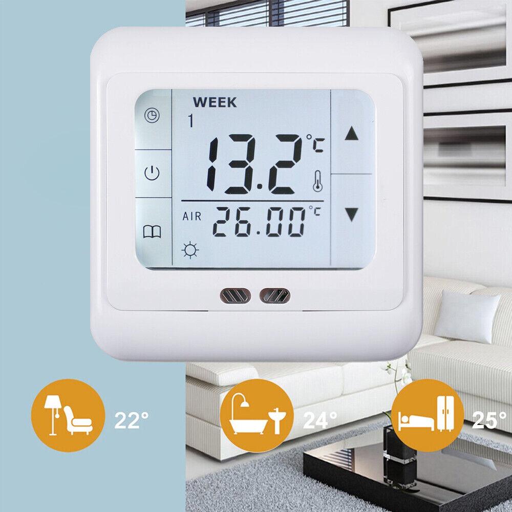 Thermostat Raumtemperaturregler LCD Digital Touchscreen Fußbodenheizung Weiß DHL