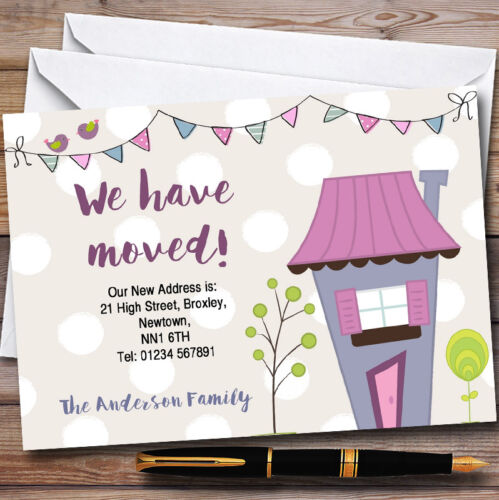 Dotty Bunting House New Home Change Of Address Moving House Cards