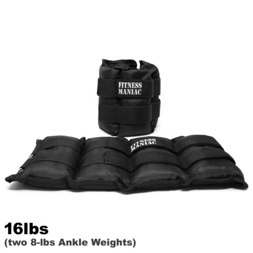 New Ankle Weights Pair Adjustable Strap 10lb 12lb 14 lbs 16 Pound Black