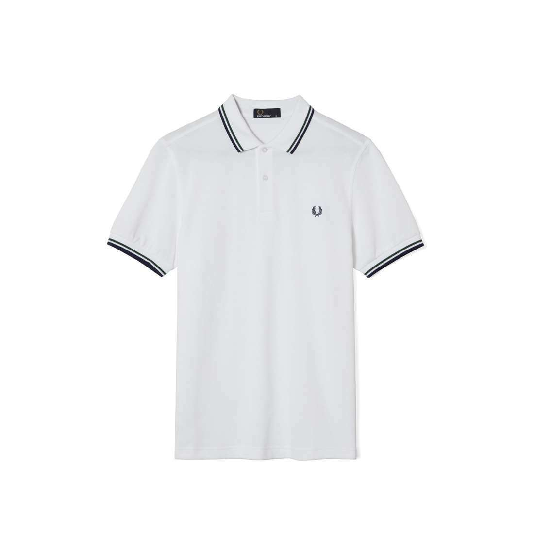 Fred Perry T shirt White 1//2 Zip Tipped Neck Retro Look Casual Polo M7384-100