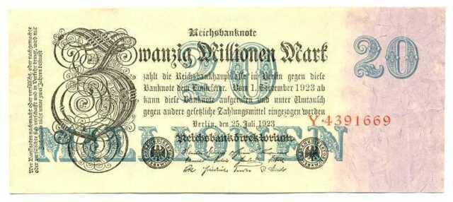 Germany Weimar Republic Reichsbanknote 20 Millionen Mark 25.7. 1923 VF+ #96a