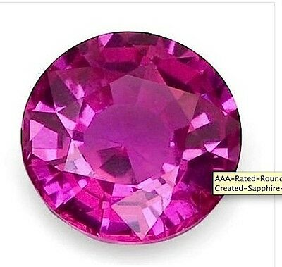 AAA Rated Round Bright Pink Lab Created Pink Sapphire (1mm-16mm)