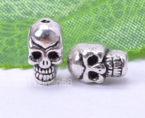 20pcs Tibetan Silver Skull Charm Spacer Beads Finding Making Crafts  B54