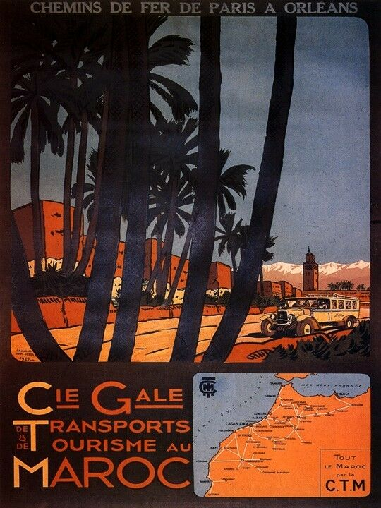 CIE GALE TRANSPORT TOURISM ALL THE MGoldCCO  BY CTM TRAVEL VINTAGE POSTER REPRO