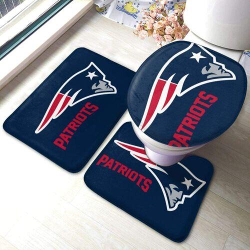 New England Patriots 3PC Non-Slip Bathroom Bath Mat Toilet Cover Contour Rug Mat