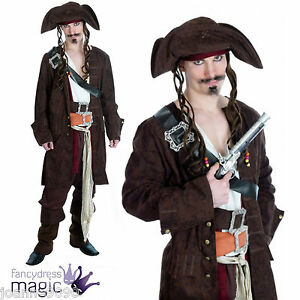 Mens-Rum-Smuggler-Caribbean-Pirate-Jack-Sparrow-Fancy-Dress-Costume-Outfit-amp-Wig