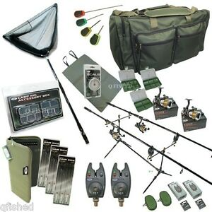 Full-Carp-Fishing-Set-up-Rods-Reels-Hair-Rigs-Bite-Alarms-Holdall-amp-Tackle