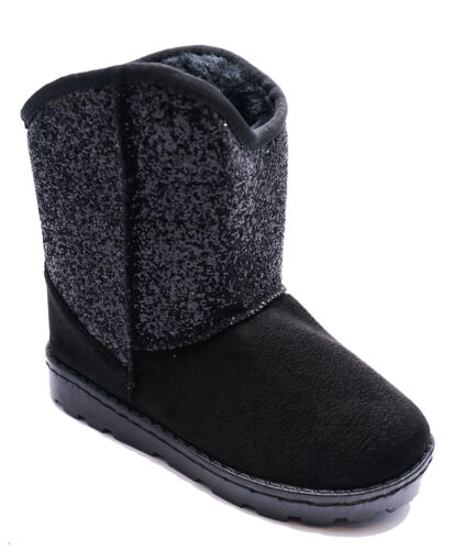 KIDS BLACK GLITTER SNUGG FLAT WARM FAUX-FUR CASUAL COMFY BOOTS SHOES SIZES 10-2
