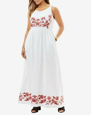 Jessica London Plus Size White Rose Floral Embroidered Maxi Dress Size 20W  | eBay