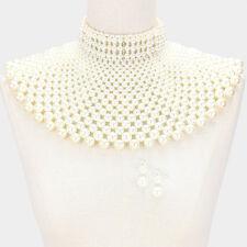 Ivory White Pearl Bead Collar Armor Bib Choker Body Necklace Gold Jewelry Set