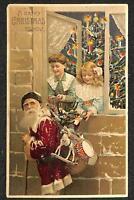 CHRISTMAS HOLIDAY SANTA CLAUS TREE HTL HOLD TO LIGHT NOVELTY POSTCARD 1908