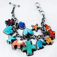 Navajo spirit Animal Charm Bracelet Sterling Silver Cross Bear Heart Star .3