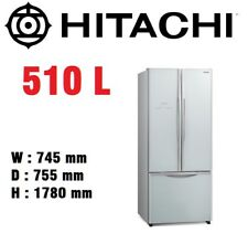 HITACHI 510L French Door Fridge Refrigerator Inverter Dual Fan Tech Silver  Glass