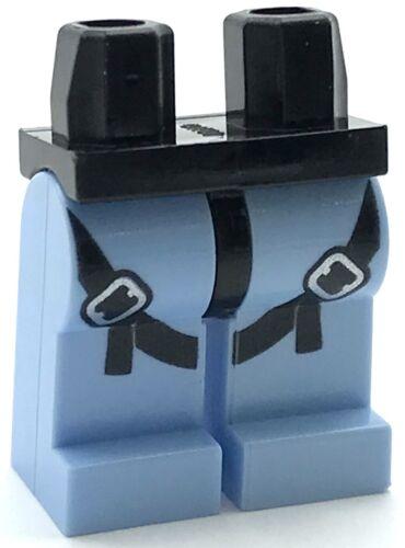 Lego New Black Hips Bright Light Blue Legs Safety Belt Harness Minifig Pants