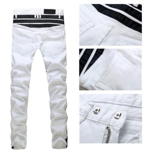 Mens Cross Creased Denim Biker Washed White Jean Boot Cut Clubwear Skinny New sz
