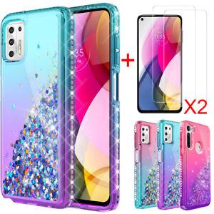 For Motorola Moto G Power/Play/Stylus 2021 Diamond Phone Cover+Tempered Glass