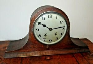Antique 1930's Napoleon's Hat Oak Mantel Clock with Pendulum & Coiled Chime Bar