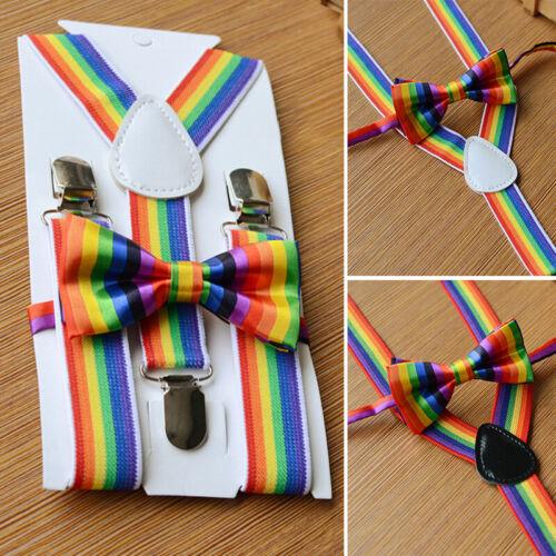 Kinder Verstellbare Hosenträger Breite Qualität Regenbogen Streifen Satz Feier