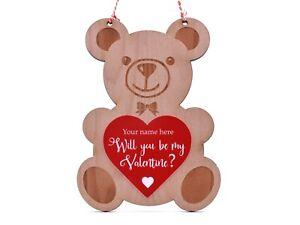 Will-You-Sein-Mein-Valentin-Holz-Graviert-Wandbehang-Teddybaer-Personalisiert