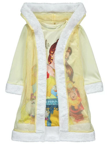 Disney Princess Belle Yellow Nightdress and Cape Hooded Gown Robe  1-8 Years