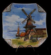 Ancienne assiette en porcelaine de Paris decor de moulin