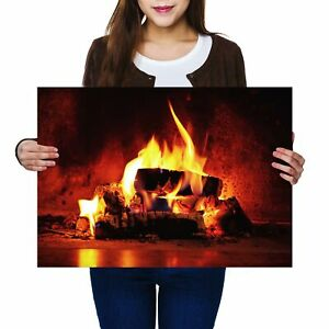 A2-Open-Log-Fire-Winter-Christmas-Poster-59-4X42cm280gsm-16344