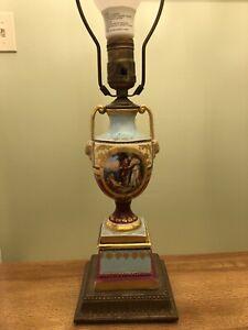 Antique-Royal-Vienna-Porcelain-Lamp-Cupid-Gold-Leaf