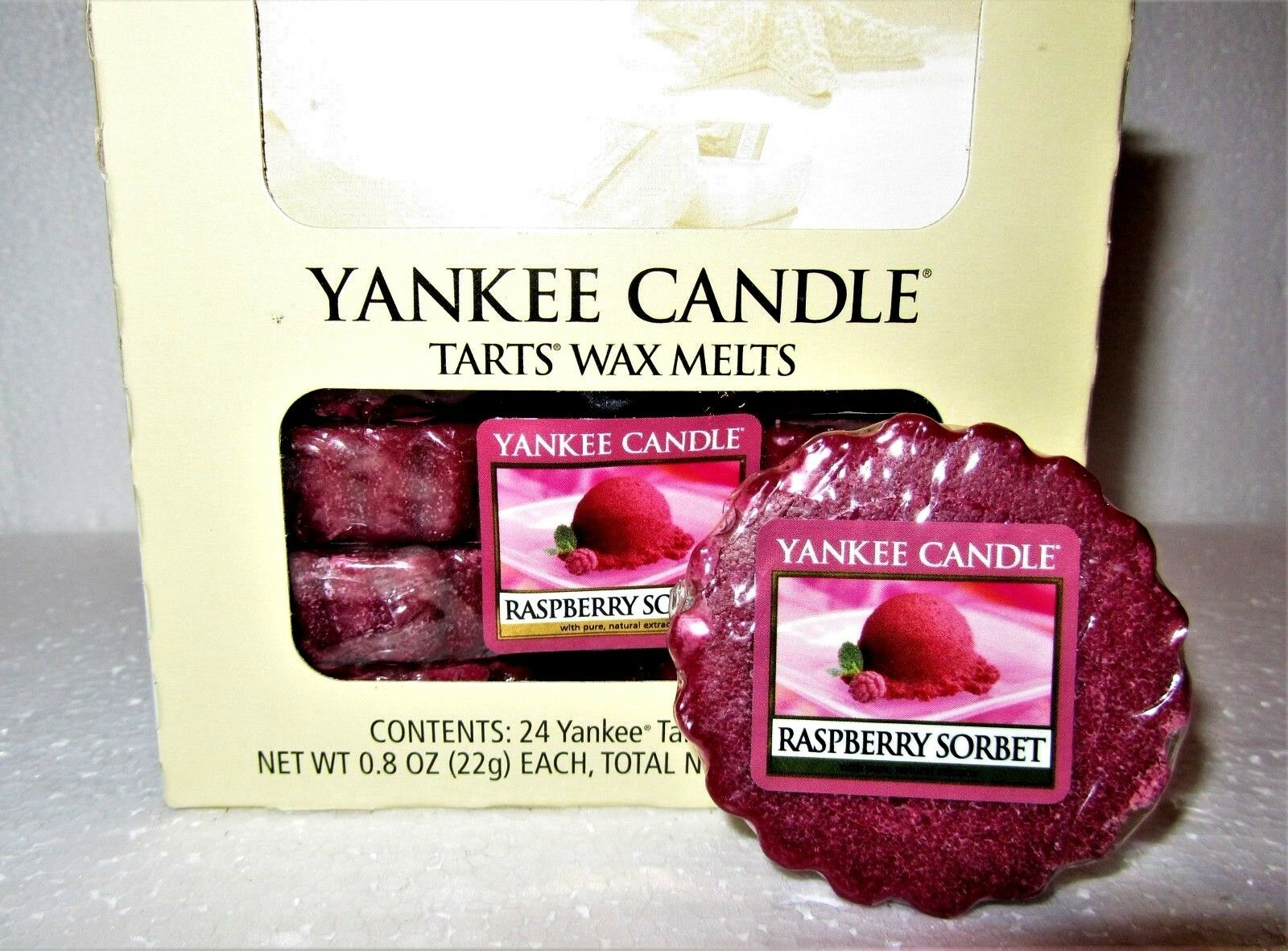 Box Lot of 24 Retired Yankee Candle  RASPBERRY SORBET  Tarts Wax Melts