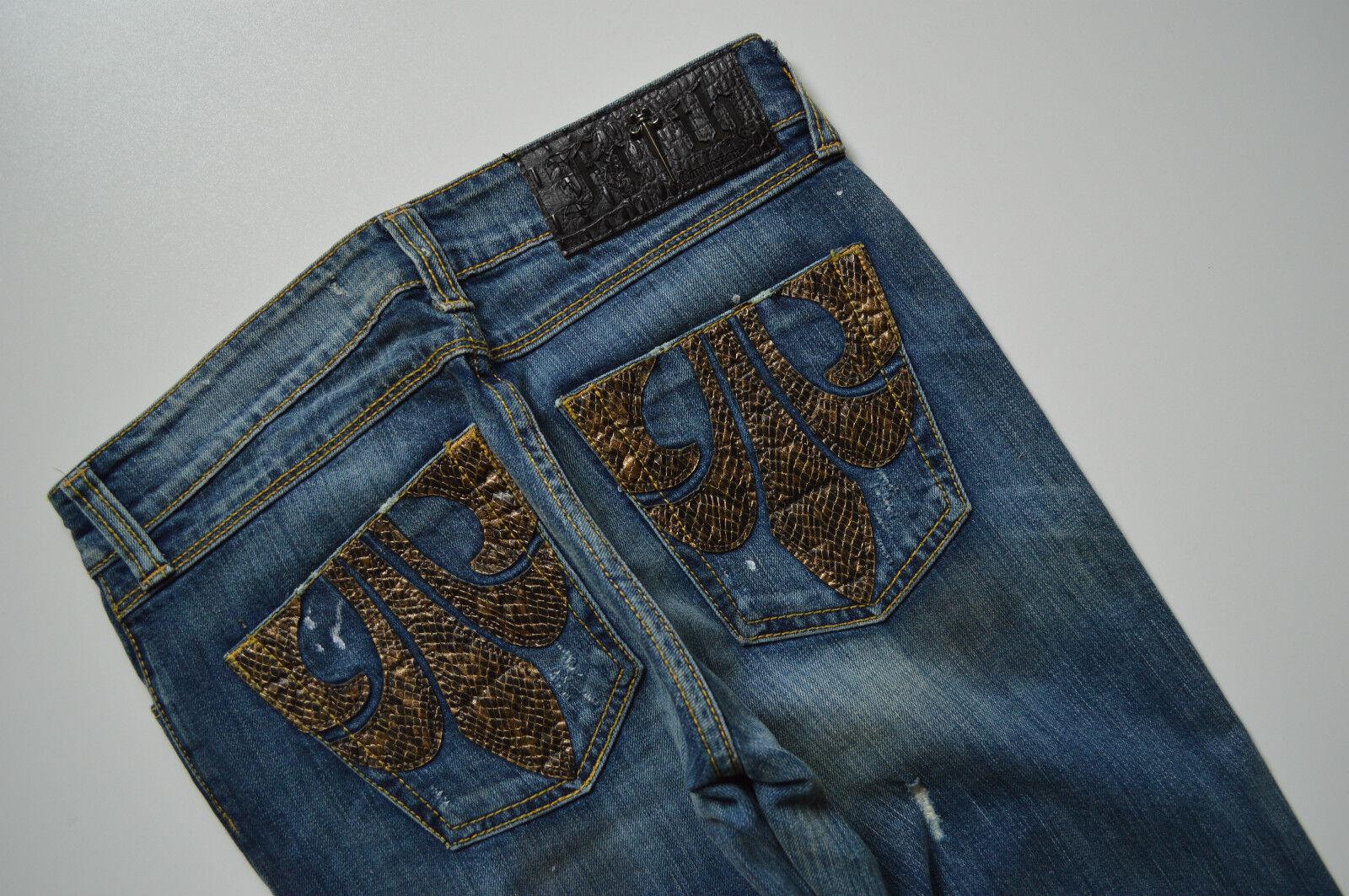 484 NEU FAITH Damen Designer Hüft Jeans Hose FAITH JEAN MAJESTY GRUNGE W26 L34