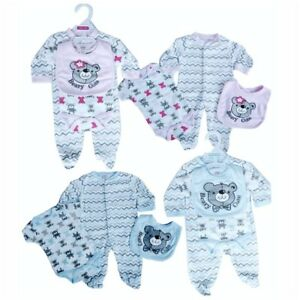 Baby-Clothes-Boys-Girls-3-piece-Set-Romper-Sleep-BodySuit-All-in-one-Pink-Blue